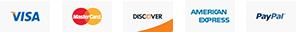 Visa, Discover, MasterCard, American Express, & PayPal