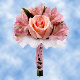 Wedding Reception Table Centerpieces Pink Roses Alstroemeria