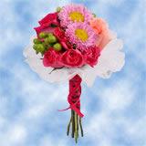 8 Joyful Pink Roses, Matsumotos & Hypericums Centerpieces                                                              For Delivery to Pennsylvania