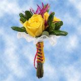 8 Precious Yellow Roses, Eryngiums & Pittosporums Nosegays                                                              For Delivery to Newtown, Pennsylvania