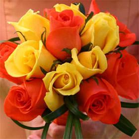 Fresh Bridesmaids Rose Bouquets Yellow Orange Roses Globalrose