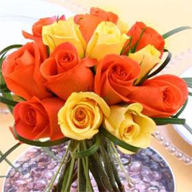 Rose Centerpieces Yellow Orange Roses Globalrose