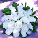 3 Premium White Royal Rose Bridesmaid Bouquets                                                              For Delivery to Chehalis, Washington