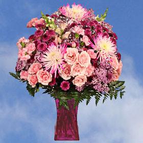 Valentines Flower Arrangement Pink Purple Flowers Vase Globalrose